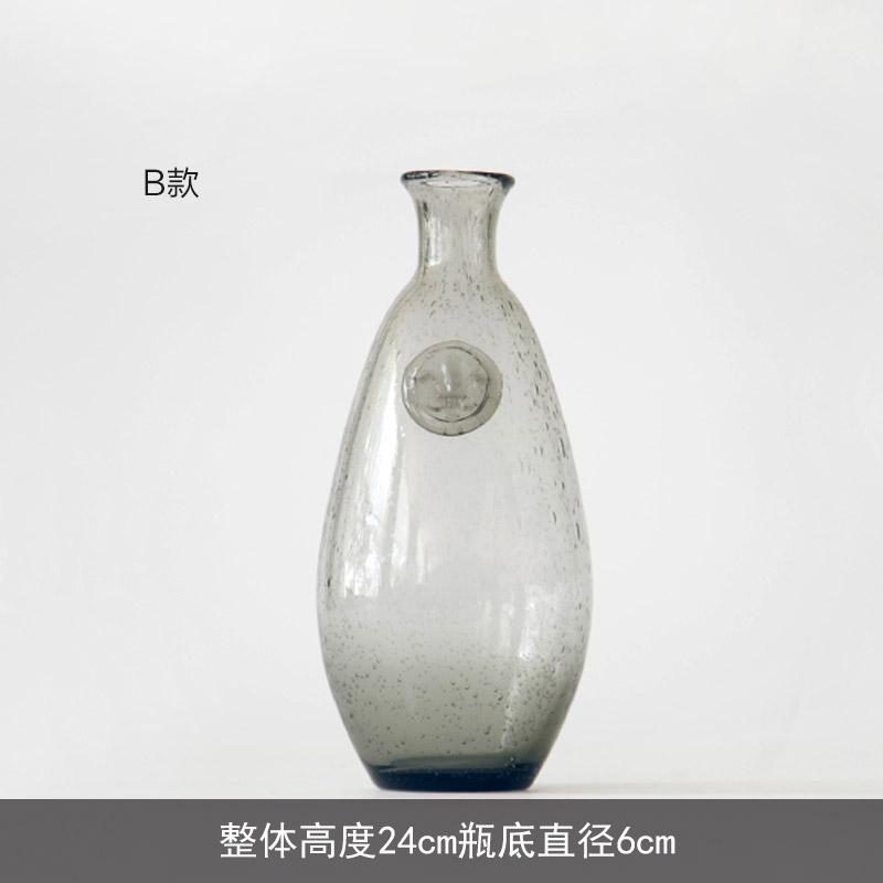 阑珊树 烟灰色气泡花瓶 客厅透明玻璃花瓶花器 装饰工艺品摆件