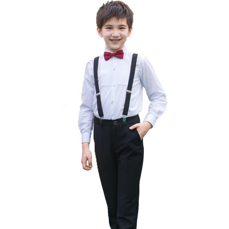 Color classification: Black men's(long sleeve+pants+strap+wine red tie knot)