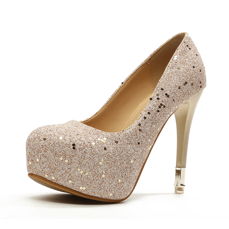 Round head waterproof sequins single shoes's main photo