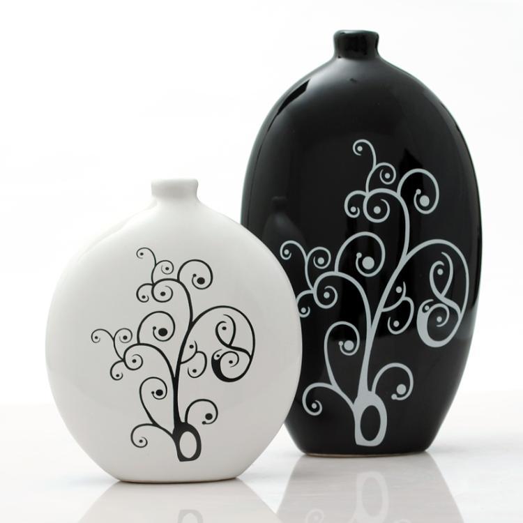 景德鎮陶瓷器現代時尚創意抽象工藝品家居擺設裝飾品擺件黑白花瓶