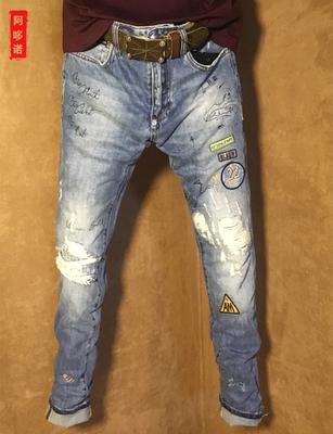 个性潮牌pp嘻哈大破洞刮烂浅色牛仔裤薄款夏季高端涂鸦小直筒裤男