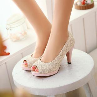 【包邮】韩版鱼嘴鞋蝴蝶结防水台坡跟高跟休闲女鞋
