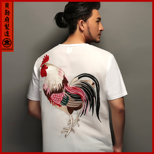 Chinese wind original design T-shirt embroidered rooster back breathable mesh summer men's loose cotton