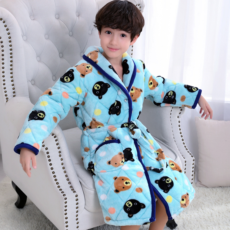 Color classification: Thickened cotton Nightgown blue bear