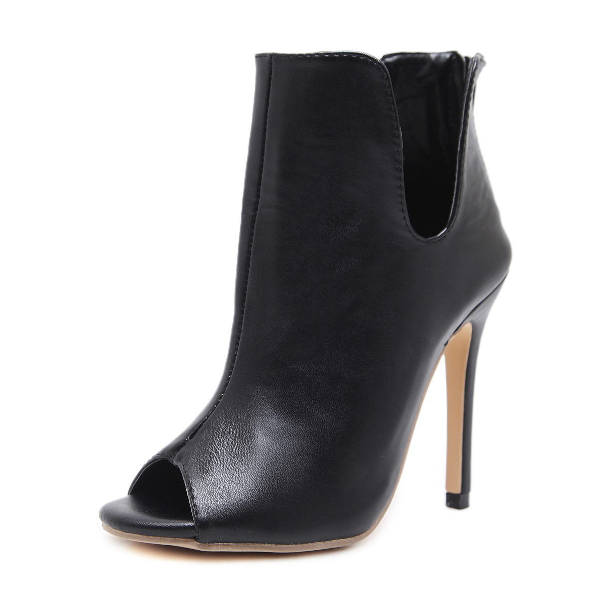 Italian style peep-toe high-heeled boots's main photo