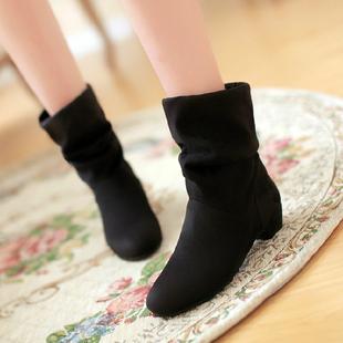 秋冬时尚女靴子韩版甜美短靴厚底棉鞋马丁靴低跟踝靴裸靴大码