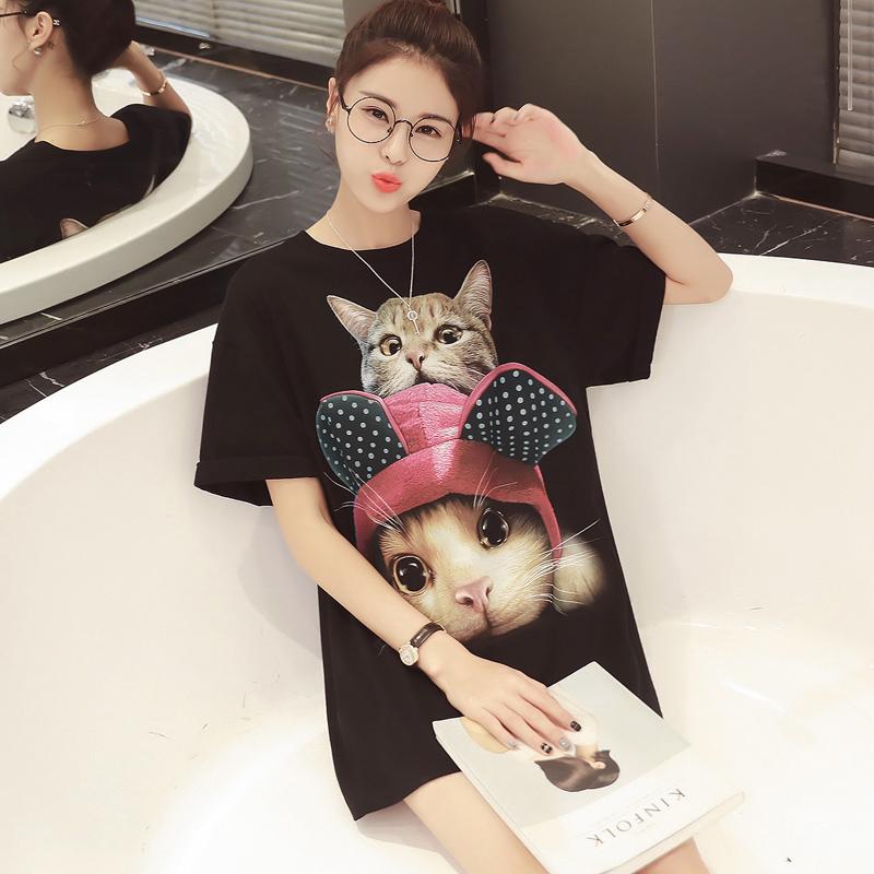 夏新款女装2016 韩版可爱猫咪印花中长款短袖