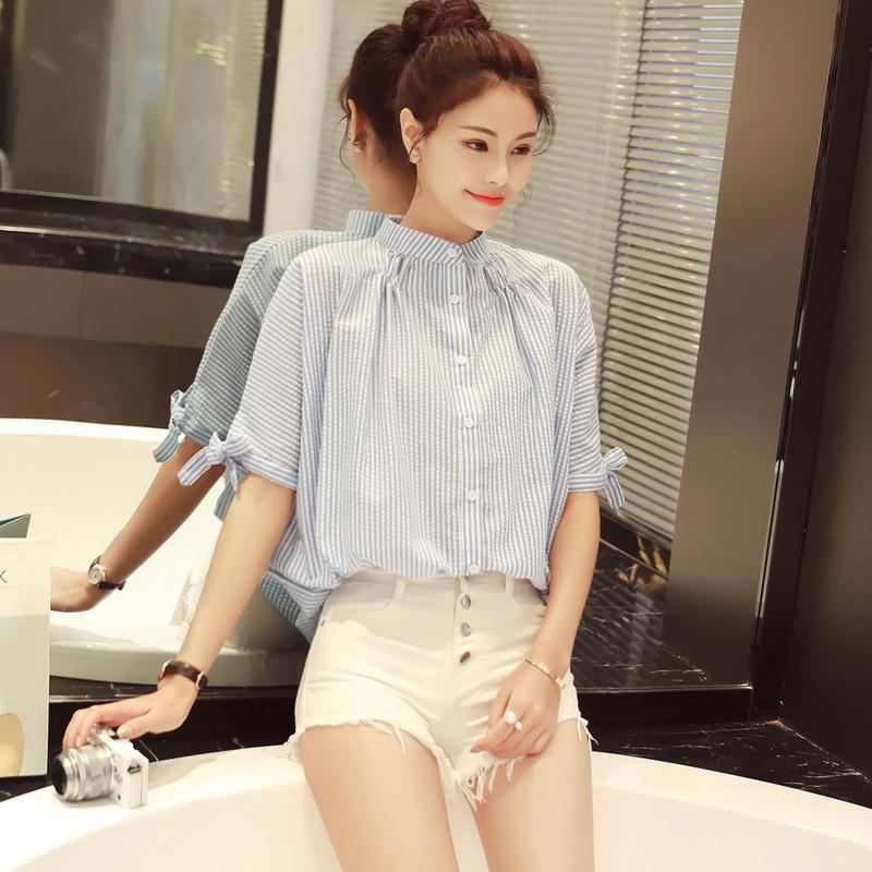 2016新款夏装 韩版女装立领五分袖宽松显瘦竖条纹套
