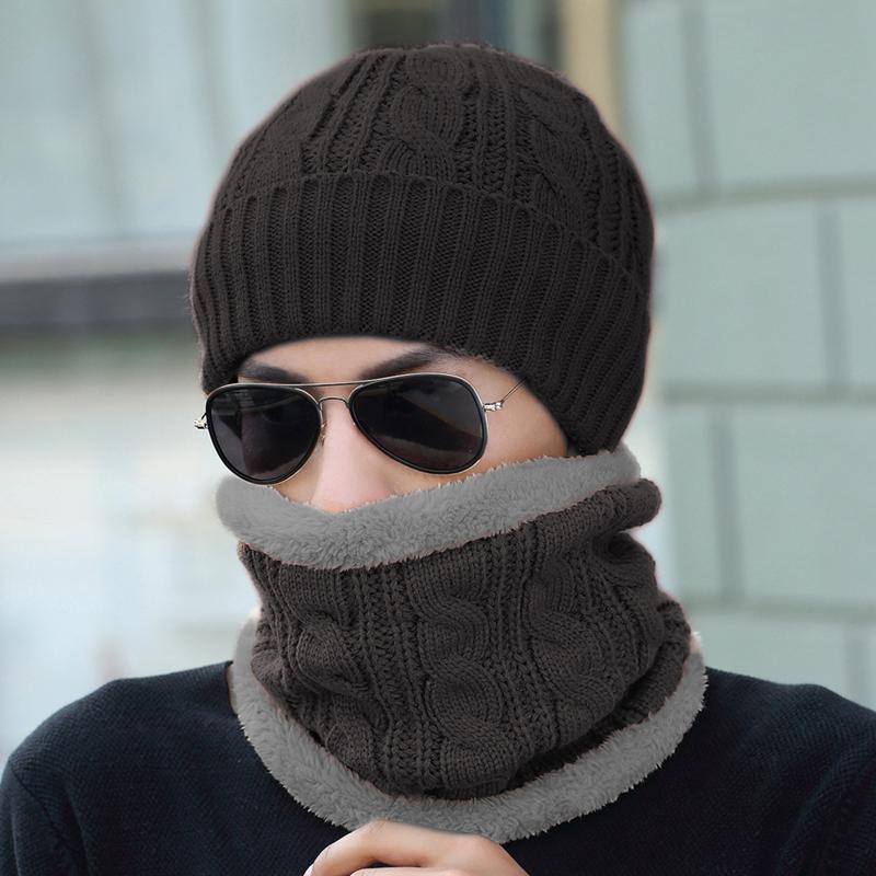 【邦士龙官网】帽子男冬季中老年帽针织毛线帽脖套装