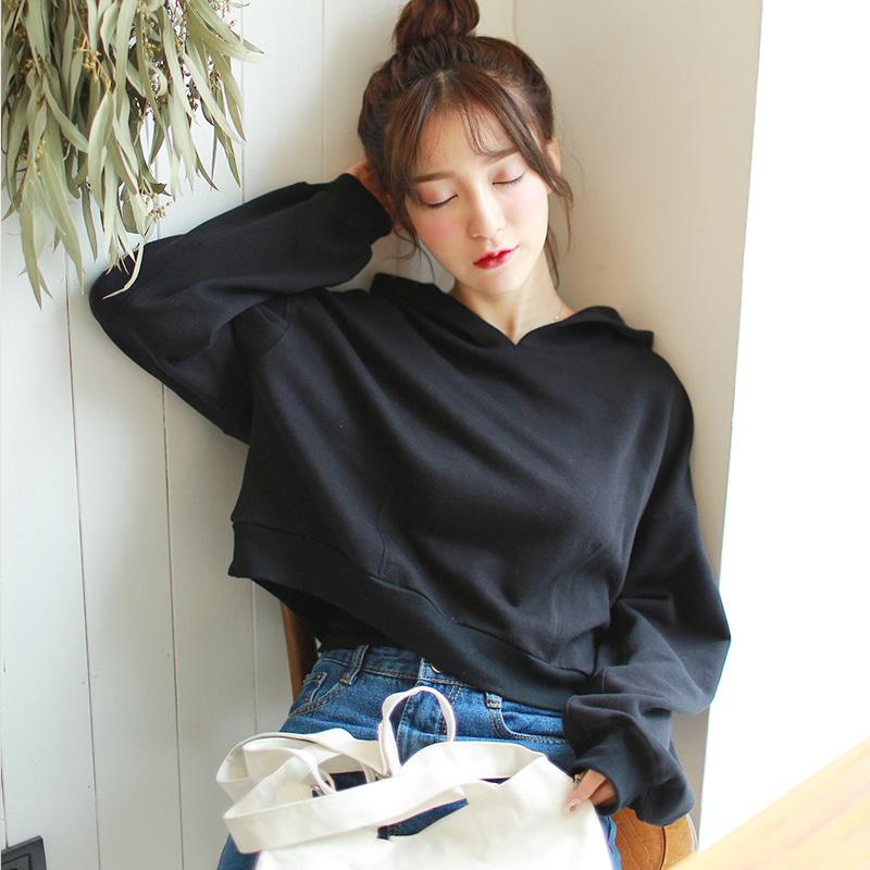 韩版春季新款连帽蝙蝠袖宽松套头卫衣