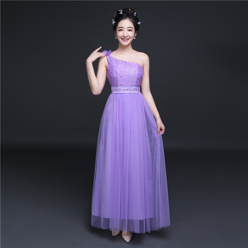 Color classification: Purple lace one-shoulder