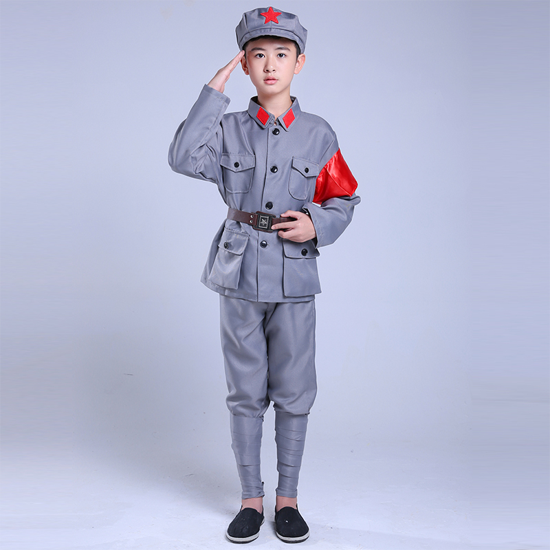Color classification: Child grey red suit
