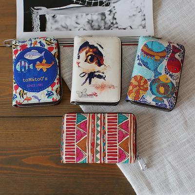 包邮新款韩版卡通手绘涂鸦牛皮彩绘真皮女式短款拉链皮夹皮包钱包