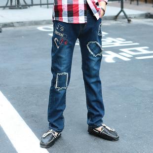 儿童牛仔裤男 长裤破洞新款春秋款童装男童牛仔裤中大童韩版裤子