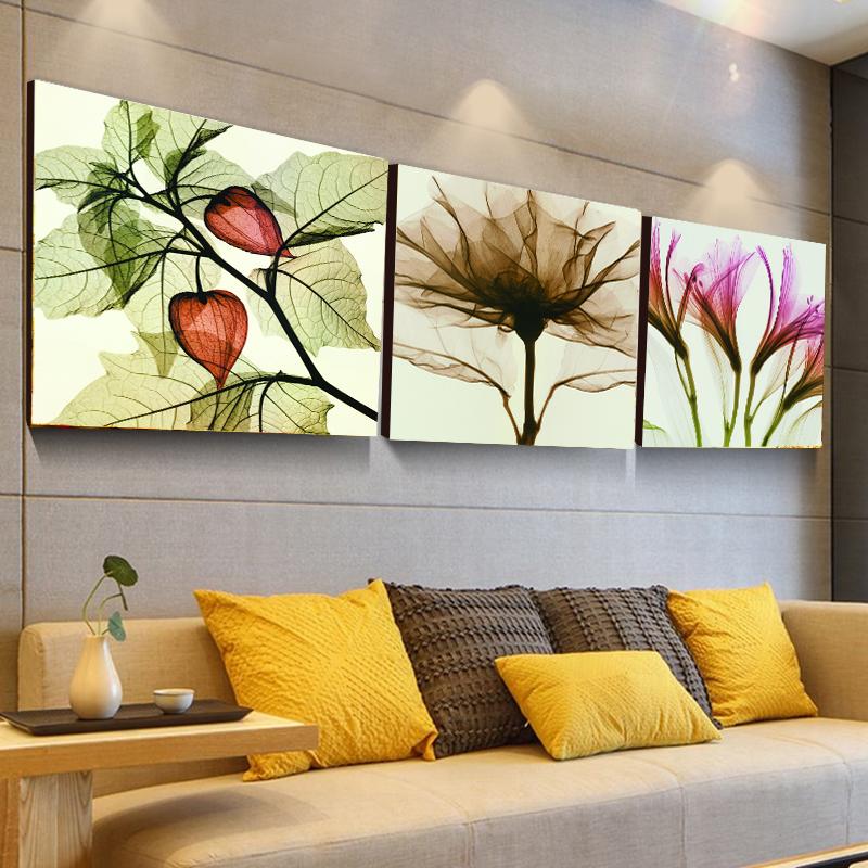樹花印象9mm時尚薄板 60厘米*60客廳裝飾畫 現代簡約掛畫 抽象臥室壁畫 三聯畫 樹花印象無框畫