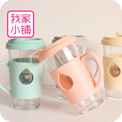 创意加厚耐摔可爱水杯玻璃杯动物带茶漏茶隔耐高温带