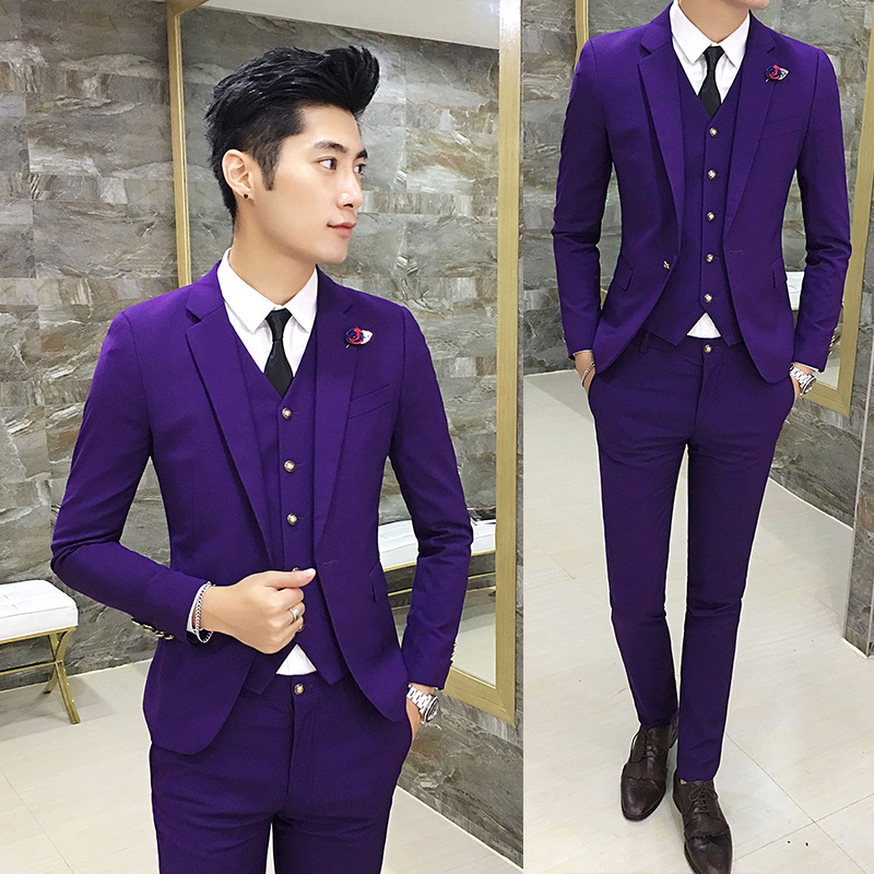 Color: Purple suit + trousers