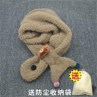 韩版儿童围巾男童女童宝宝围脖秋冬季保暖毛绒围巾亲子款婴儿围巾