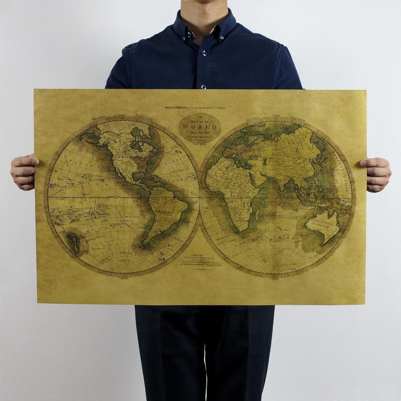 h038150克啞光牛皮紙材質不無覆膜72.5*41.5cm老世界地圖 懷舊復舊牛皮紙海報裝飾畫芯室內酒吧咖啡館宿舍裝飾