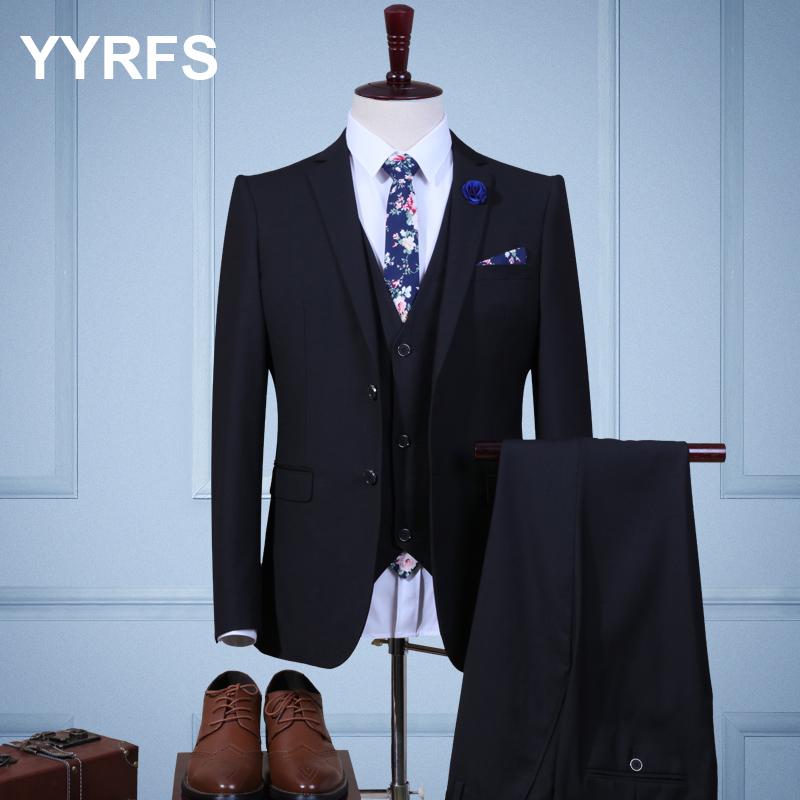 Color: Black double buckle three-piece suit (jacket + pants + vest)