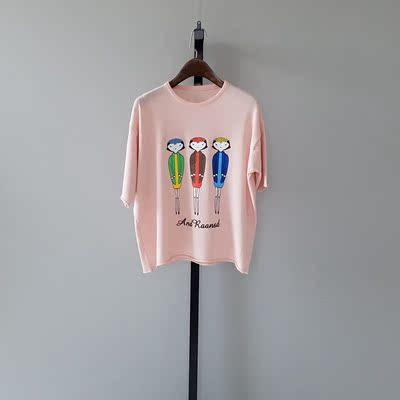 跑单2016夏季女装新款 冰丝麻人物印花圆领七分袖宽松体T恤1C6X