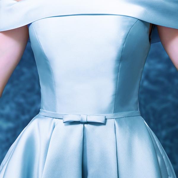 藍色伴娘服短款公主新娘晚宴年會演出小禮服2015冬季新款8301