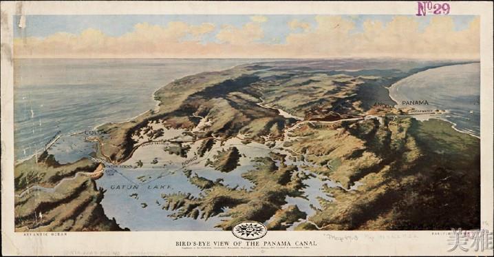 仿古地圖67黑色簡約框獨立85cm x 44cm北歐式裝飾畫/世界仿古地圖67羊皮卷/巴拿馬運河鳥瞰地圖