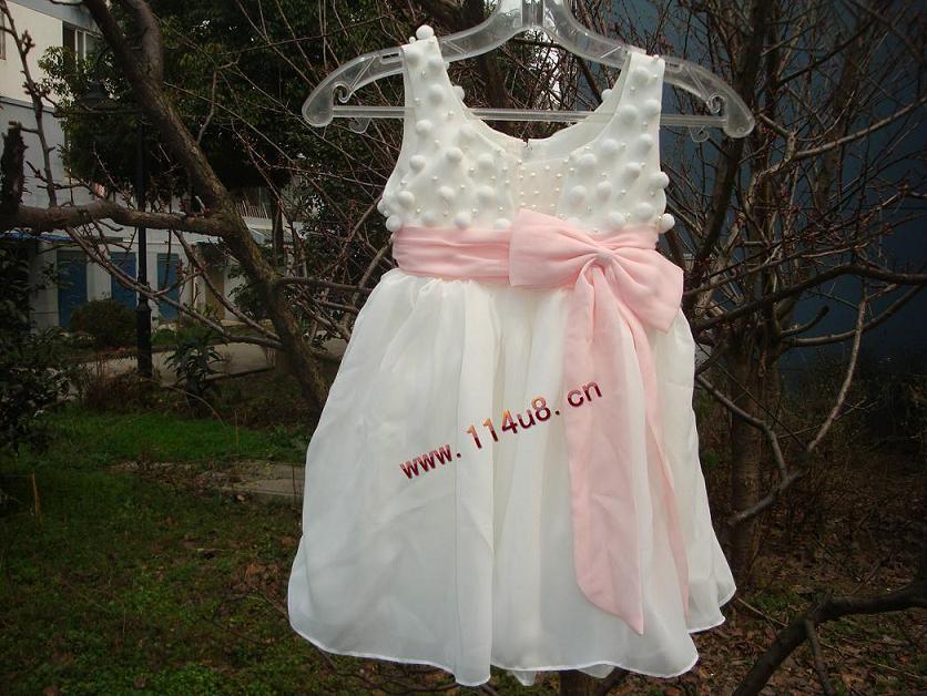 花童禮服合唱服舞臺服演出服表演花童服花童裝可愛公主裙小婚紗裙白色80cm(80cm)