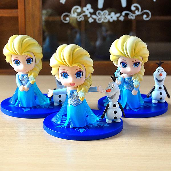 冰雪奇缘艾莎q版迪士尼公主公仔摆件 爱莎frozen粘土女孩娃娃玩具