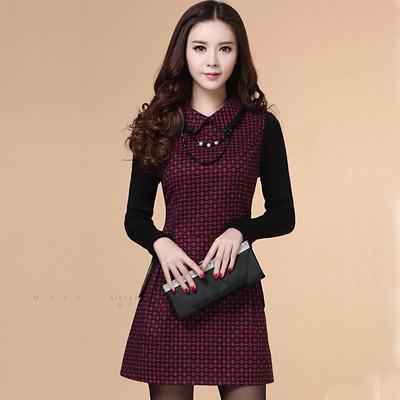 倾岑2015年秋冬季新款女装 韩版格子毛呢拼接针织长袖打底连衣裙