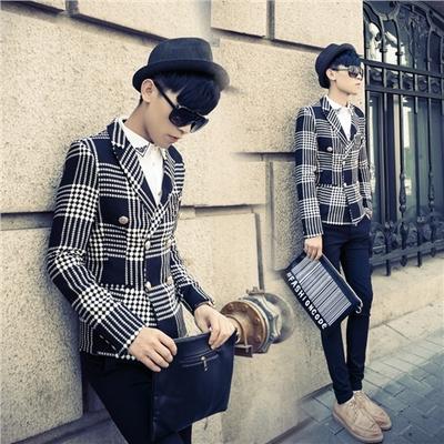 冬季韩版个性双排扣修身款短款西服男式青年格子毛呢潮流西装外套