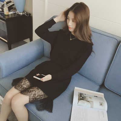 秋冬季蕾丝拼接长袖针织连衣裙女修身长裙中长款收腰打底裙毛衣裙
