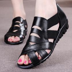 [卖家促销] 新款妈妈凉鞋女平底真皮中年女凉鞋大码老年凉鞋平跟夏季女凉鞋子