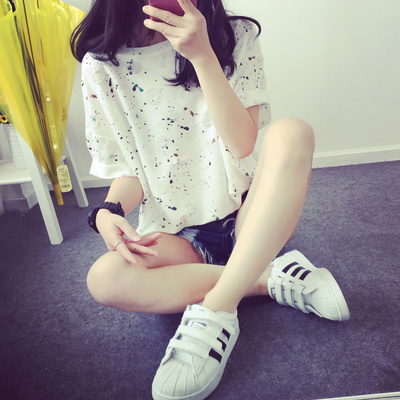 South Korean women's jacket half sleeve loose stamp size short sleeved summer wave broken hole students close friend t-shirt t-shirt