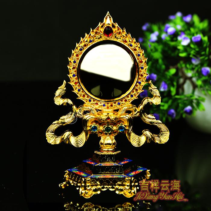準提鏡 密宗藏傳佛教用品 準提佛母佛像擺件法器 銅合金鍍金彩繪