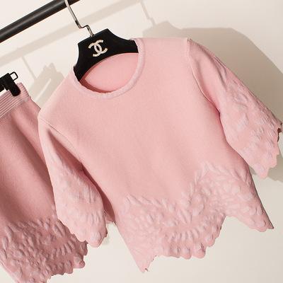 2015秋季新款针织提花裙欧美小香风女套裙套装不规则女时尚百搭