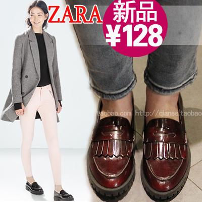 2015新款ZARA平底鞋真皮英倫風復古圓頭流蘇單鞋酒紅色牛津鞋女鞋