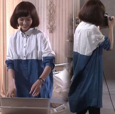 唐嫣/特价原版定制同款文艺衬衫中长款立领长袖衬衣女孩的喜爱
