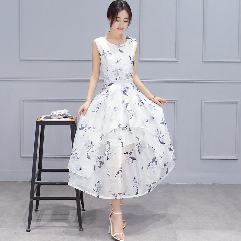 高贵女装花色玻璃丝修身无袖长款连衣裙