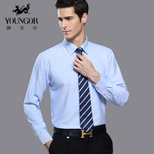 Younger men's long-sleeved shirt solid color big yards genuine middle-aged business professional dress cotton non-iron shirts