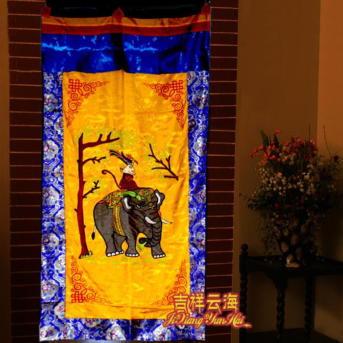 尼泊爾藏式風格門簾 吉象繡花刺繡布藝黃底 花紋邊框佛堂裝飾隔斷