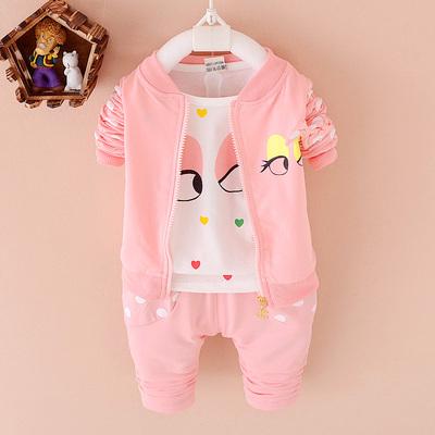 女宝宝秋装套装1-2-3岁儿童长袖三件套女童装秋季