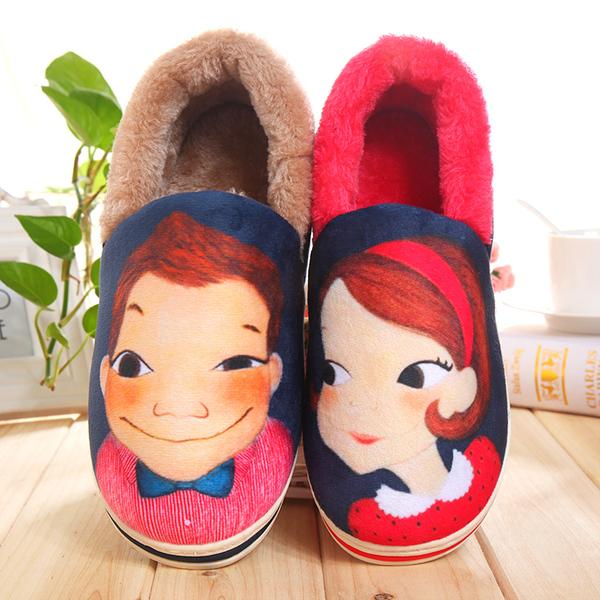 秋冬韩国插画可爱情侣棉拖鞋男女包跟厚底保暖家居鞋