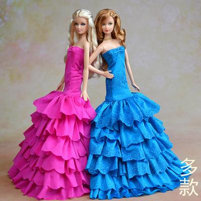 多款芭比娃娃衣服裙子适合barbie可儿穿的婚纱礼服