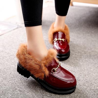 女鞋秋冬棉鞋女带毛毛高跟鞋粗跟复古马丁靴女防水台短靴保暖棉鞋