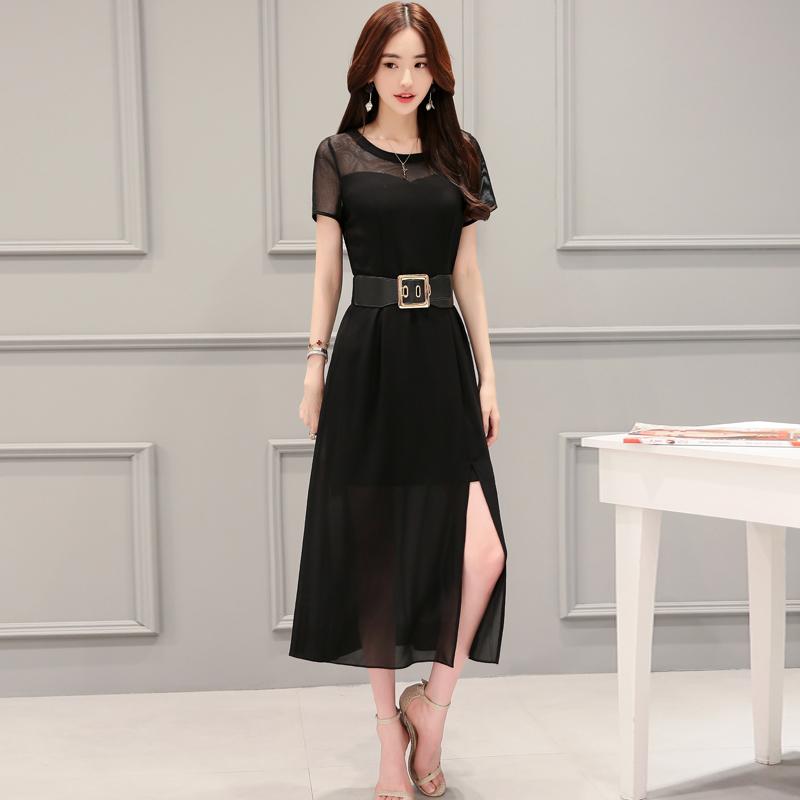 透视拼接抹胸性感黑色开叉连衣裙