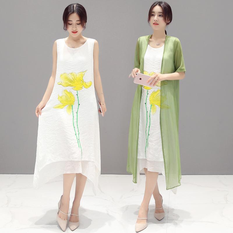 儒雅中国风定位大花中长款棉麻连衣裙两件套装仿古