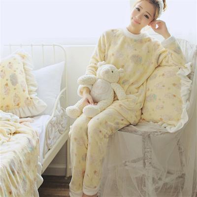 超可爱绵羊系列珊瑚绒家居服套头睡衣套装
