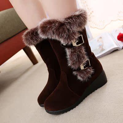 2015冬季新款女鞋优雅兔毛坡跟靴子女中筒雪地靴侧开搭扣舒适女靴
