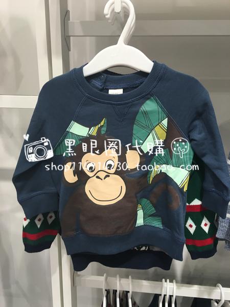 男童宝宝可爱小猴印花套头卫衣
